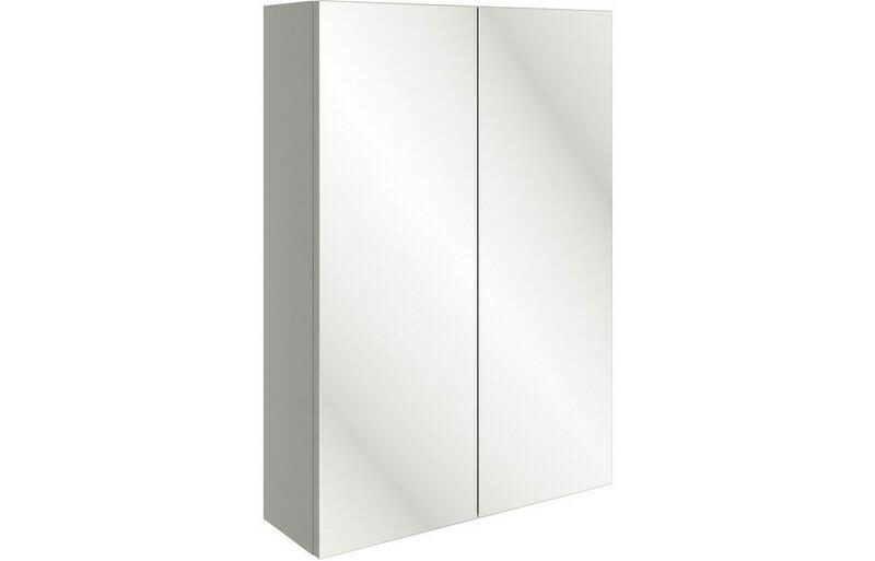 Valesso 500mm Slim Mirrored Wall Unit - Pearl Grey Gloss