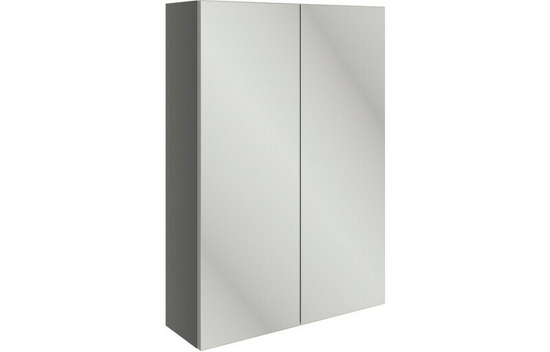 Valesso 500mm Slim Mirrored Wall Unit - Onyx Grey Gloss