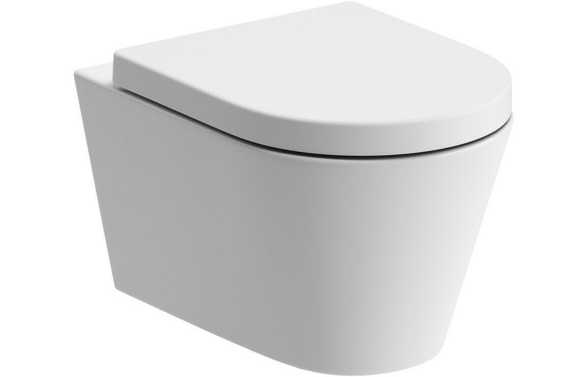 Cilantro Rimless Wall Hung WC & Soft Close Seat