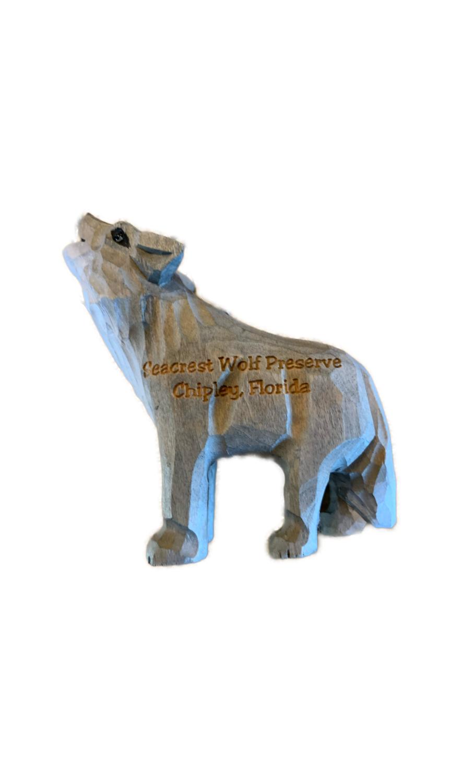 Wooden Wolf Figurine Ornament