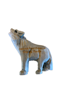 Wooden Wolf Figurine Ornament