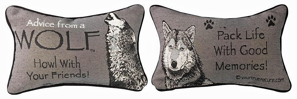 """""""Advice from a Wolf"""" Reversible Throw Pillow"""