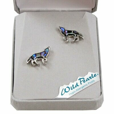 Storrs Wild Pearle Abalone Shell Howling Wolf Post Earrings