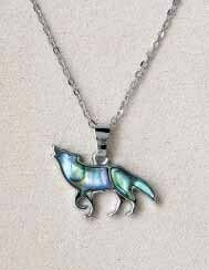 Storrs Wild Pearle Abalone Shell Howling Wolf Necklace