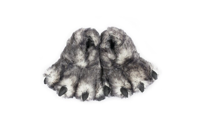 Gray Wolf Paw Slippers