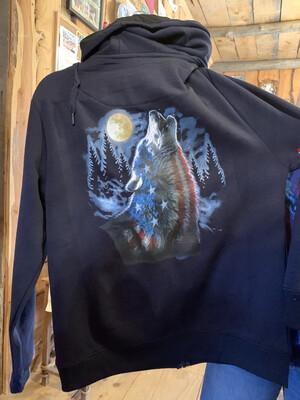 Navy Wolf Zip-Up Hooded Sweatshirt