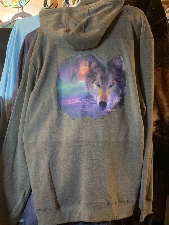 Gray Wolf Zip-Up Hooded Sweatshirt