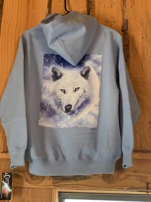 Light Blue Wolf Zip-Up Hooded Sweatshirt