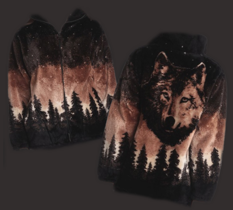 Cozy Monogrammed Wolf Jacket - Brown