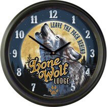 Lone Wolf Lodge 16'' Wall Clock