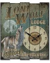 Lone Wolf Lodge Wooden Clock