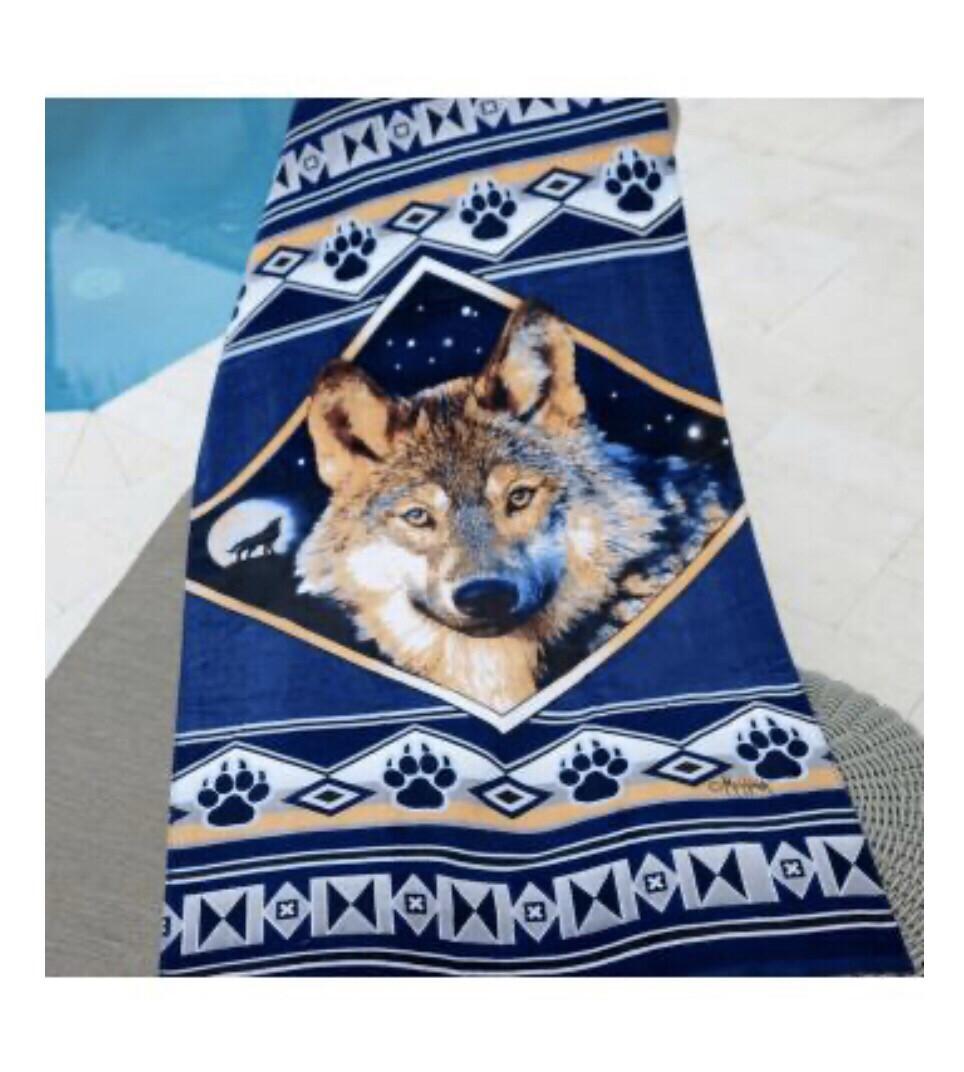 Oversized Wolf Beach Towel