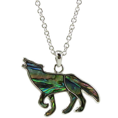 Storrs Wild Pearle Abalone Shell Large Howling Wolf Necklace