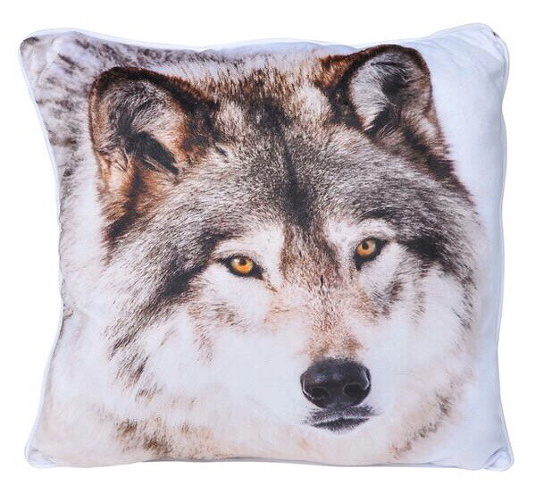 Printed Wolf Pillow