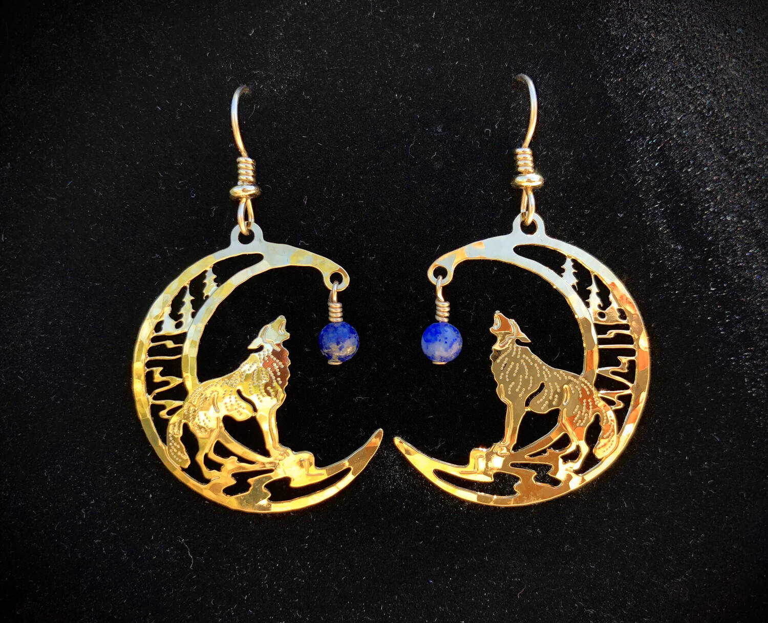 Wild Bryde Wolf With Lapis Earrings