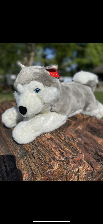 Jumbo Grey And White Wolf Plush