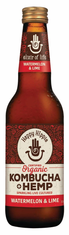 Happy Hippie Watemelon Lime Kombucha Hemp x 12