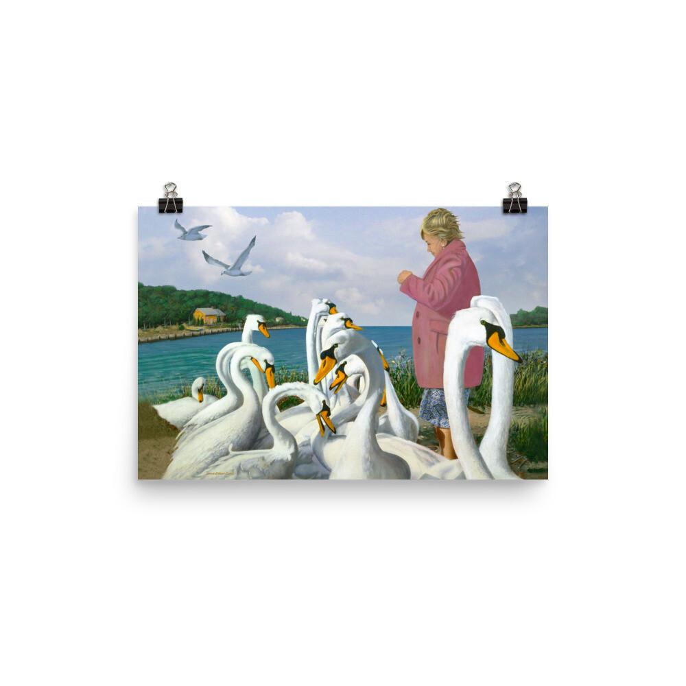 """Feeding Swans"" Print"