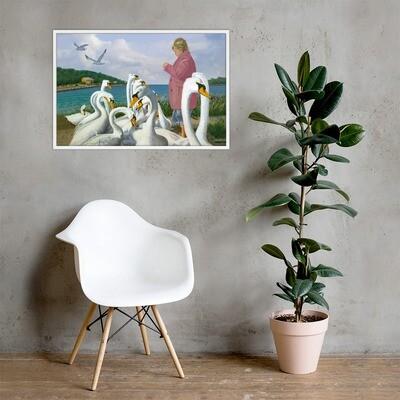 """Feeding Swans"" Framed Print"