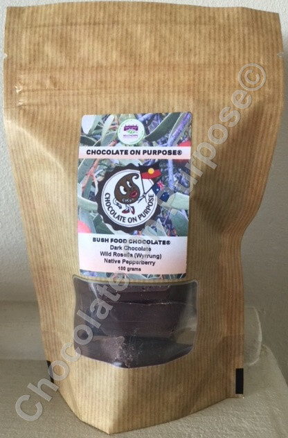 Dark Chocolate with Wild Rosella (Wyrrung) & Mountain Pepperberry (Mourao)
