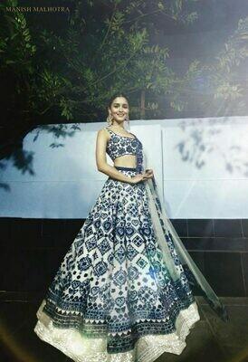 Manish Malhotra Royal Blue and White Lehenga Alia Bhatt