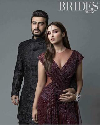 Falguni and Shane Peacock  Maroon Gown Parineeti Chopra