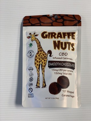 Giraffe Nuts Infused Caramels | Smooth Chocolate Chew | 15mg Hemp  per piece - 10 Pieces Per package