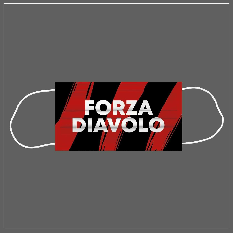 Mascherina Riutilizzabile Lavabile Calcio FORZA DIAVOLO MILAN