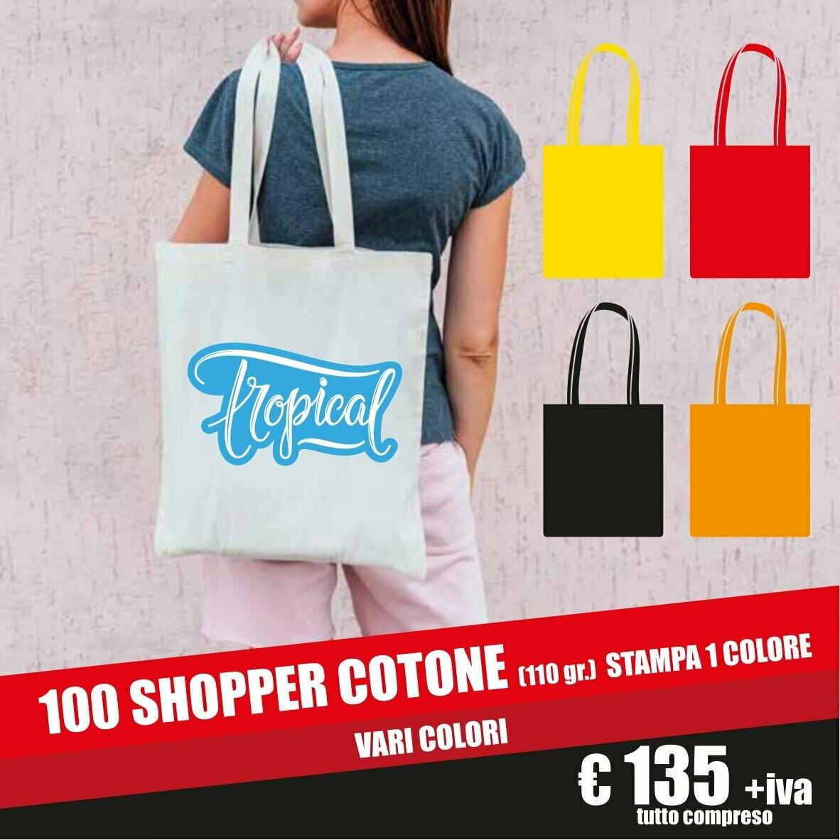 100 pz shopper in cotone personalizzate
