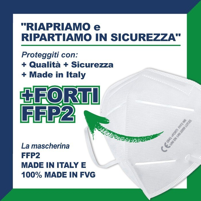 50 pz +FORTI FFP2 MADE IN ITALY, MADE IN FVG - MASCHERINA FILTRANTE