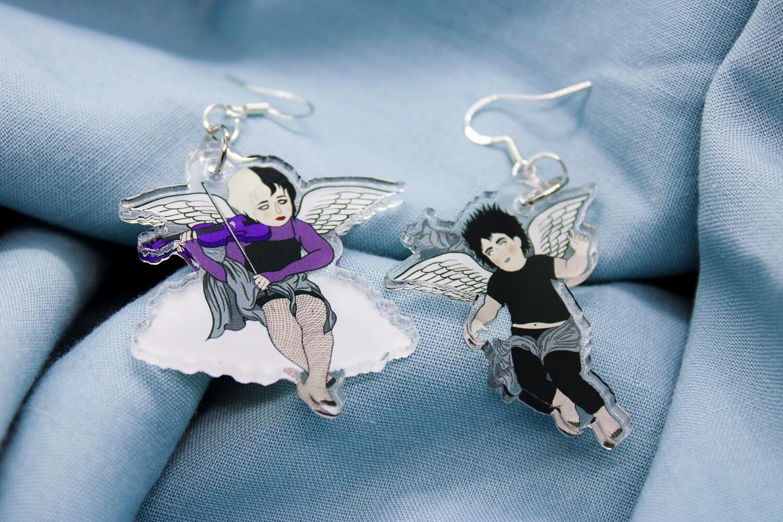 Goth Cherub Earrings - boy and girl goth angel dangle earrings