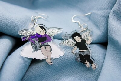 Goth Cherub Earrings - boy and girl goth angel dangle earrings