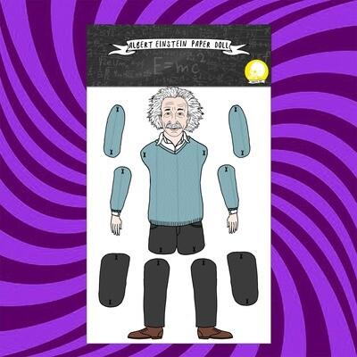 Albert Einstein paper doll puppet
