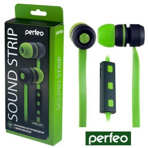 Гарнитура беспроводная Perfeo SOUND STRIP, вакуумные зелёные/чёрные