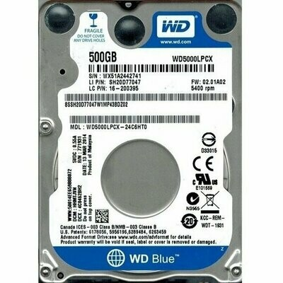 Жесткий диск Western Digital Blue 500GB 5400rpm 16MB WD5000LPCX 2.5