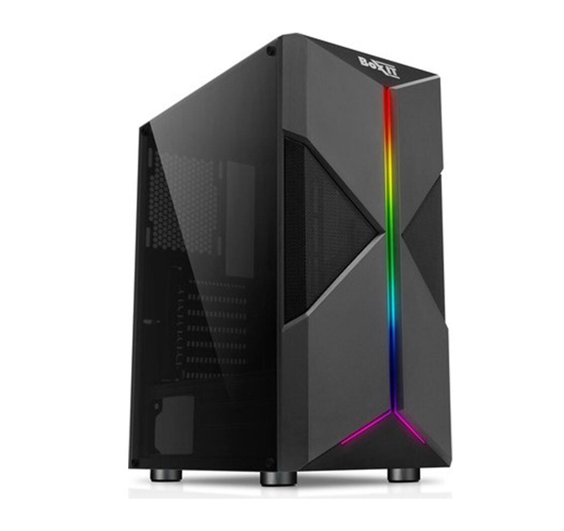 Корпус ATX BoxIT 4709BB без БП/1xUSB3.0/2xUSB2.0/full window/RGB лента/black