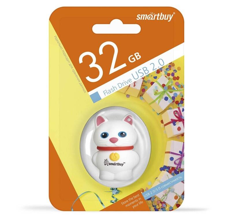 Флеш-драйв Smart Buy USB 32GB Wild series Котенок Белый