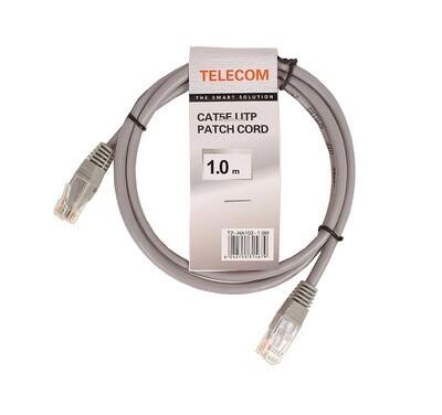 "Патчкорд литой ""Telecom"" UTP кат.5е 1,0м серый"