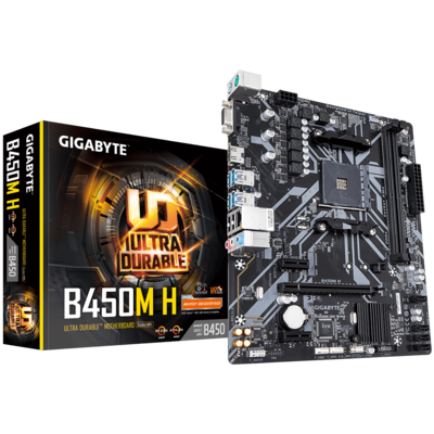 Материнская плата Gigabyte B450M H (sAM4, AMD B450, PCI-Ex16)