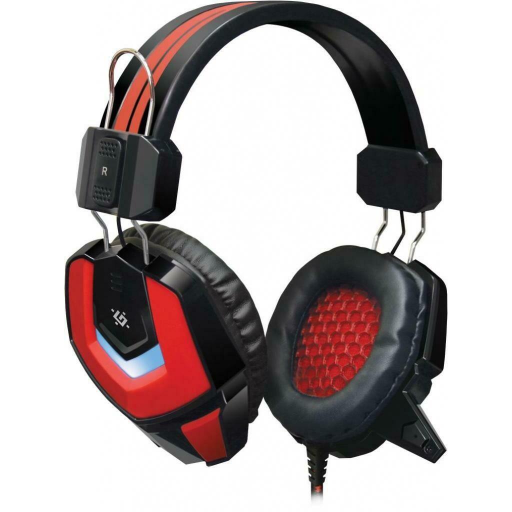 Гарнитура игровая Ridley, подсветка, красный + черный, кабель 2,2 м Defender