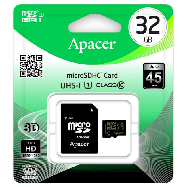 Карта памяти Apacer microSD 32 Gb CLASS 10