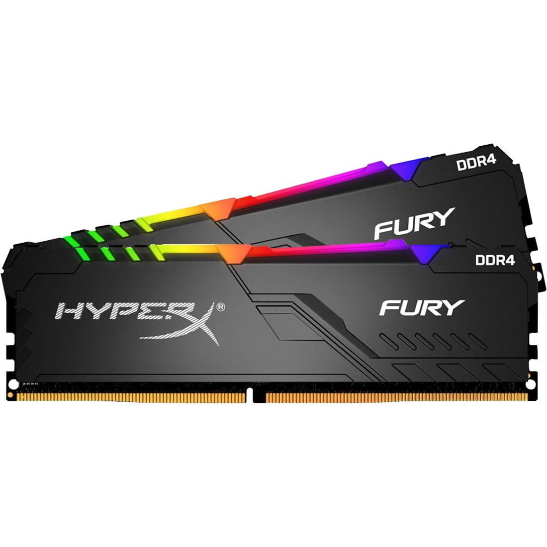 Оперативная память Kingston HyperX FURY Black RGB [HX432C16FB3AK2/16] 16 ГБ