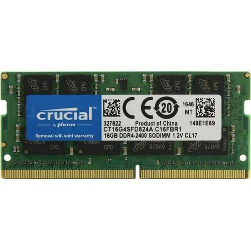 Оперативная память Crucial SO-DIMM DDR4 16Gb 2400MHz pc-19200 CT16G4SFD824A