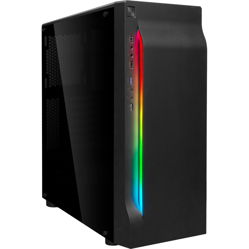 Корпус ATX BoxIT 4707BB Midi-Tower ATX без БП RGB лента