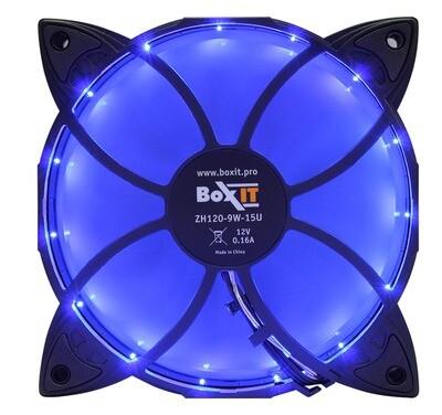Вентилятор BoxIT 120*120*25 1250RPM 3pin + MOLEX 15LED синий ZH120-9W-15U