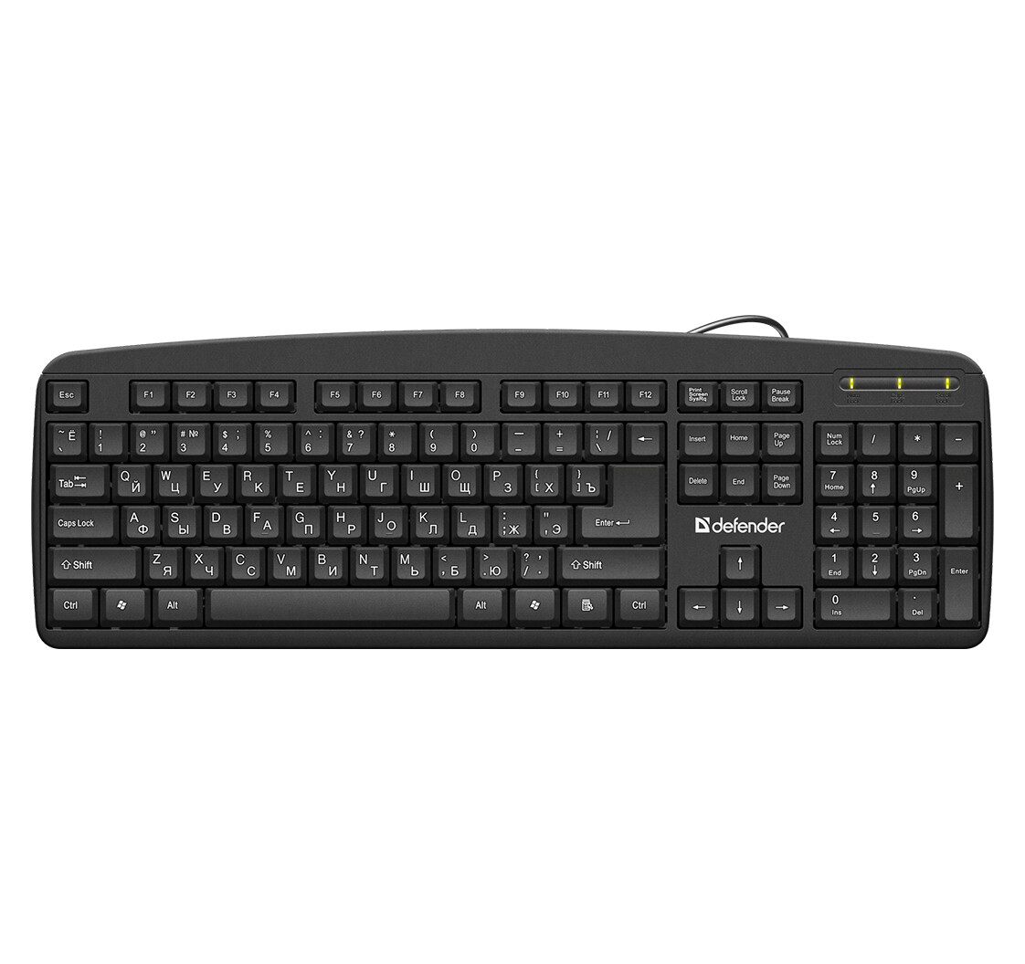 Проводная клавиатура Defender Office HB-910 RU,черный,полноразмерная