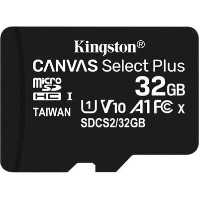 Карта памяти KINGSTON microSDHC Canvas Select Plus 32GB UHS-I V10 A1 Class 10 (SDCS2/32GBSP)