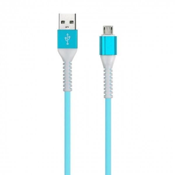 Дата-кабель FLOW 3D, Type C в рез.оплет., 1 м, мет. након. 2 А, синий, Smartbuy