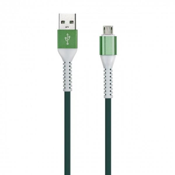 Дата-кабель FLOW 3D, Type C в рез.оплет., 1 м, мет. након. 2 А, зеленый, Smartbuy