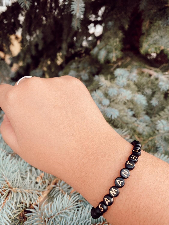 Black And Gold Letter Bracelet